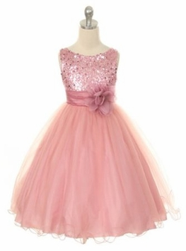 Flower Girl Dress - Pink Sequin Double Mesh - SOLD OUT