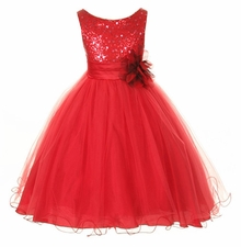 Infant Girls Flower Girl Dress -  Red Sequin   FINAL SALE