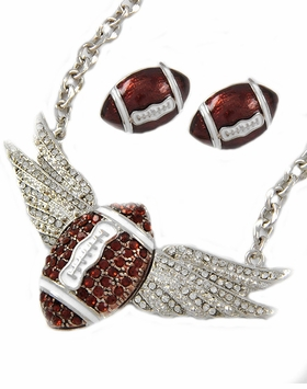 Football Wings Necklace & Football Earrings Set out of stock