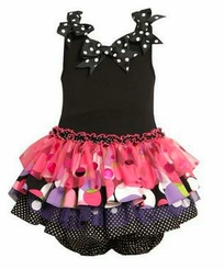 Fuchsia and Black Knit Tiered Dress Infant or Girls Size
