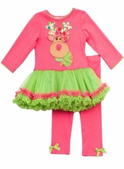Fuchsia and Lime Reindeer Tutu Legging Set