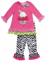 Fuchsia Cupcake Applique Zebra Legging Set SALE