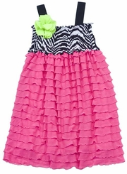 Fuchsia Eyelash Dress With Zebra Print  FINAL SALE