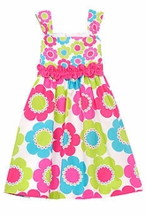 Fuchsia/ Lime Daisy Print Dress 4-6X