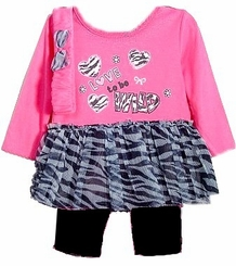 "Fuchsia ""Love to Be Wild""  Tutu and Legging Set w/ Headband"