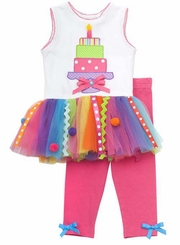 Fuchsia Multi Color Tiered Cake Legging Set