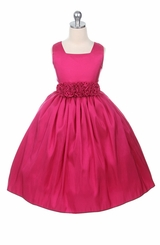 Fuchsia Party Dress with Flower Waist 3T  FINAL SALE