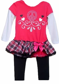 Fuchsia Peace Sign Tunic with Ruffle Skirt and Leggings sold out