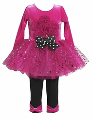 Fuchsia Pink Sparkle Bouquet Tutu Leggings set 18 Months - Out Of Stock