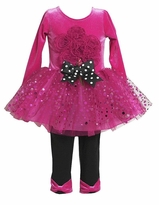Fuchsia Pink Sparkle Bouquet Tutu Leggings set
