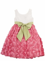 Fuchsia Soutache Dress with Lime Sash  2T FINAL SALE