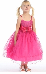 Fuchsia Sparkle Mesh Tier Dress