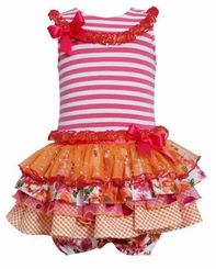 Bonnie Jean Baby Girls Ruffle Tutu Fuchsia Striped Dress