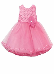 Girls Fuchsia Satin Lattice Special Occasion Dress  Size 5 or 6 CLEARANCE