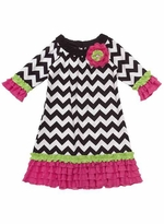 Fuchsia Woven Chevron Print Dress