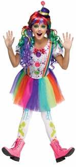 Fun World Girl's Crazy Rainbow Color Girls Clown Costume
