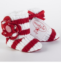 FUR LINED.. Baby Booties - Candy Cane Flower & Stripes SOLD OUT