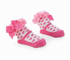 Girl Pink Hearts On White Sock 0-12 Months  -sold out