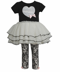 Bonnie Jean Girl's Black Ivory Heart Rusched Legging Set  FINAL SALE