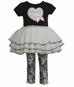 Bonnie Jean Girl's Black Ivory Heart Rusched Legging Set