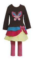 Girl's Brown Butterfly Applique Legging Set