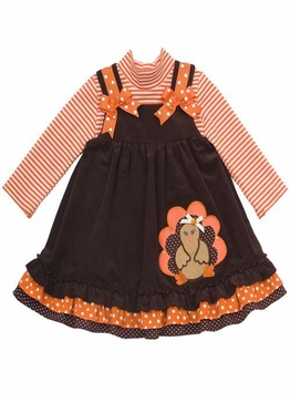 Rare Editions Girl's Thanksgiving Dress : Brown Corduroy Turkey Applique Toddler Girl Jumper Set - Out of Stock