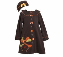 Girl's Brown Fleece Turkey Coat Set with Matching Hat