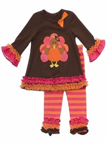 Girl's Brown Turkey Tunic with Striped and Ruffled Leggings Set SALE