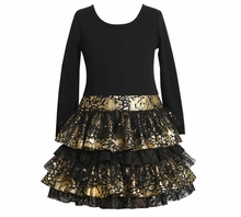 Girl's Party Dress: Drop Waist Lurex Tiered Dress