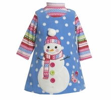 Girl's Snowy Snowman Fleece Dress Set -  SIZE 6  LAST ONE