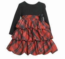 Girl's Christmas Dress: Sparkle Knit Empire Pick up Dress