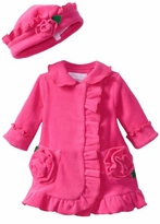Girl's Coat Set Fuchsia Ruffled Fleece with Matching Hat