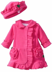 Girl's Coat Set Fuchsia Ruffled Fleece with Matching Hat  CLEARANCE