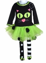 Girl's Halloween Outfit: Mud Pie Cat Lime Tutu Set with Bracelet for Mom