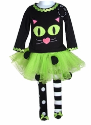 Girl's Halloween Outfit: Mud Pie Cat Lime Tutu Set
