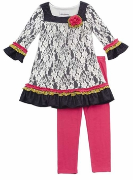 Rare Editions Ivory Fuchsia Girl's Tunic Dress and Leggings