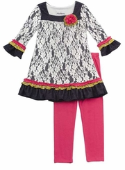 Rare Editions Girl's Tunic Dress and Leggings  FINAL SALE