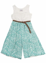 Girl's Pants Set Mint Leopard Print Romper