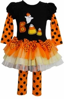 Girl's Halloween Outfit : Orange Black Candy Corn Boo Girls Tutu Set