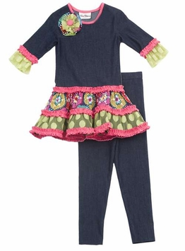 Rare Editions Girls  2T - 6X  Denim Knit Dress with Leggings