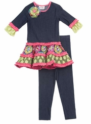 Rare Editions Girls  2T - 6X  Denim Knit Dress with Leggings  FINAL SALE