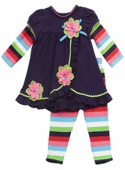Rare Editions Infant Multi Stripe Flower Pant Set  FINAL SALE