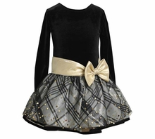 Girl's Party Dress: Gold Bow Lurex Drop Waist Dress