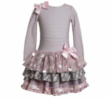 Girl's Party Dress: Pink Grey Stripe Tiered Dress