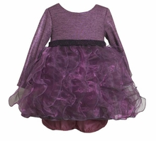 Girl's Party Dress:  Purple Organza Metallic Chiffon Dress