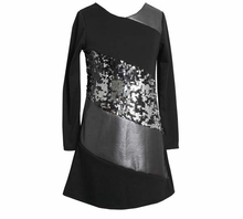 Girl's Party Dresses: Black Pieced Sequin Special Occasion Dress