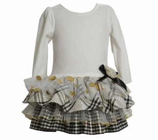 Girl's Party Dresses: Ivory Plaid Tiered Dress