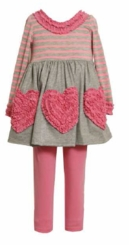 Girl's Pink Bonaz Heart Legging Set  FINAL SALE