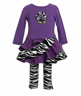 Bonnie Jean Newborn to 6X Purple Zebra Legging Set