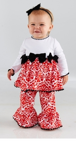Girl's Red Damask Minky Holiday Pant Set: Mud Pie Baby Girl's Christmas Pant Set - SOLD OUT